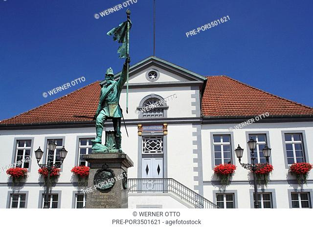 The war Memorial of 1870/1871 in front of the City hall in Quakenbrueck city, Artland, Oldenburger Muensterland, Lower Saxony, Germany, Europe