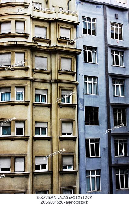 Buildings near the Cathedral de Nuestra Señora de la Asunción de Santander, city of Santander, Cantabria, Spain.Port city of Santander, Cantabria, Spain