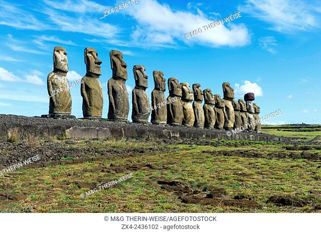 Moais at Ahu Tongariki, Rapa Nui National Park, Easter Island, Chile, Unesco World Heritage