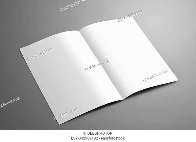 Universal blank one A4, (A5) bi-fold brochure with soft shadows isolated on gray background. The booklet is opened and shows the turn