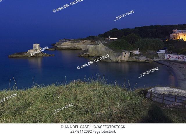 The most beautiful coast of Apulia: Torre Dell'Orso Bay in Puglia Italy. St Andrea beach by twilight