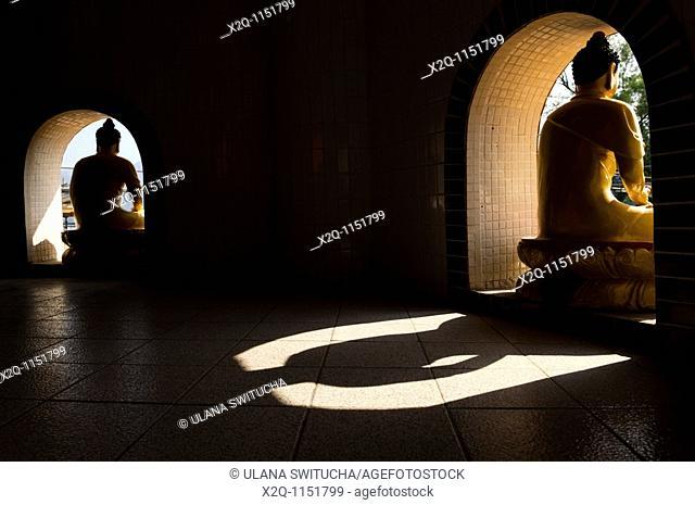Shadow of a buddha statue at the ten thousand buddhas monastery Sha Tin Hong Kong China