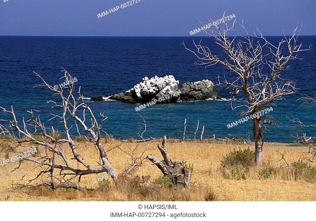 View of the coast, sea, rock, Samothrace, N  E  Aegean, Greece