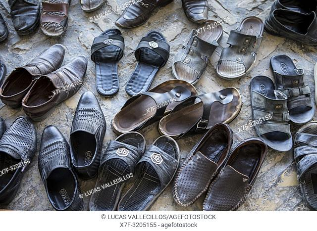 Believers shoes, in Bolo Hauz Mosque, Bukhara, Uzbekistan