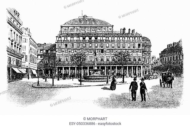 Comedie-Francaise or Theatre-Francais or Salle Richelieu or French Theatre in Paris, France. Vintage engraving