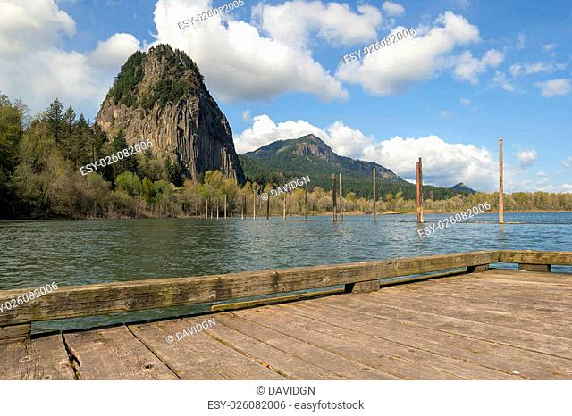 Beacon Rock from Boat Dock Moorage in Columbia River Gorge at Washington State Park