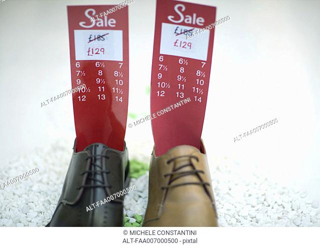 Shoes holding tag with sale price and sizes