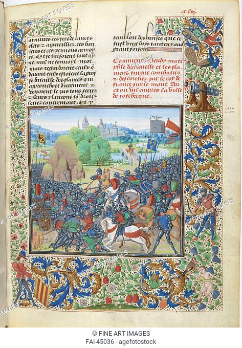 The Battle of Roosebeke (Miniature from the Grandes Chroniques de France by Jean Froissart) by Anonymous /Watercolour on parchment/Early Netherlandish Art/ca...