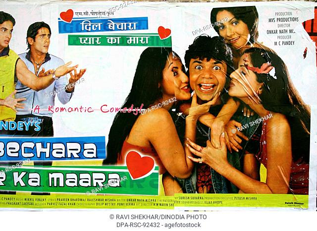 Bollywood's film poster romantic comedy comedy ' Dil Bechara Pyaar Ka Maara 'released in October2004 , Bombay Mumbai , Maharashtra , India