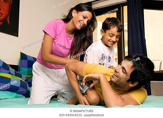Family in a playful mood