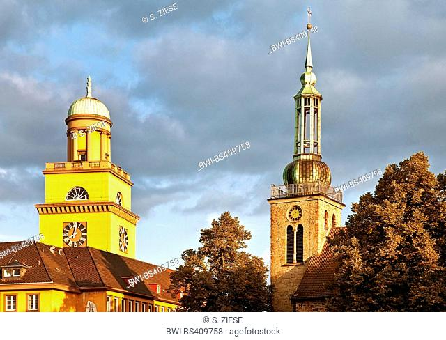 tower of the town hall and steeple of the Johannis church in Witten, Germany, North Rhine-Westphalia, Ruhr Area, Witten