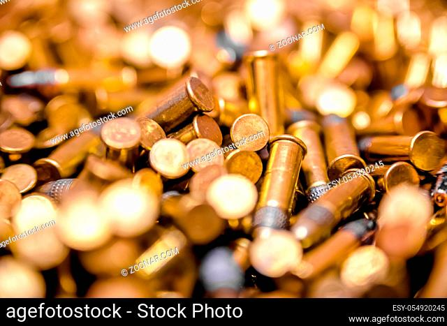 Ammo box full of bullets shot with a macro lens