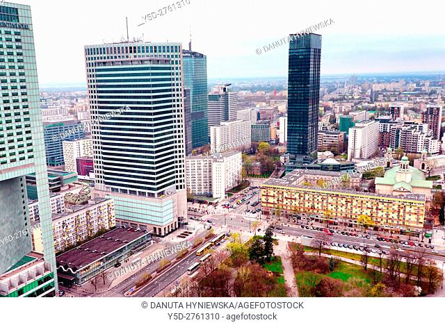 Panoramic view of city center of Warsaw, crossroad - Emilli Plater street on left and Swietokrzyska street on right, first to left skyscraper - Intercontinental...