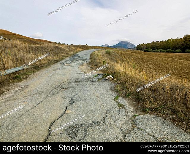 Landscape of an old road in Ardales, Malaga, Spain