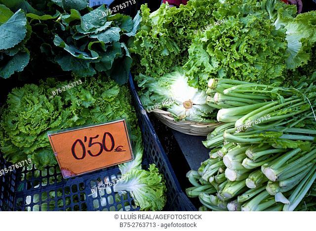 Green vegetables in market. Padrón, Province of La Coruña, Galicia, Spain