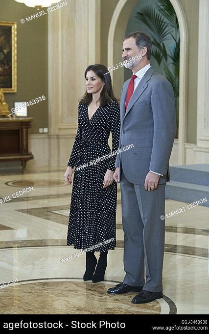 King Felipe VI of Spain, Queen Letizia of Spain attends an Audience with the National Men's Handball Team. European Champion 2020 at Palacio de la Zarzuela on...
