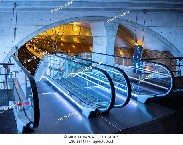 Gare De Monaco - Escalator in Train Station in Monte Carlo, Provence-Alpes-Côte d'Azur, Monaco