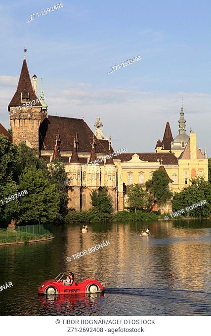 Hungary, Budapest, City Park, Vajdahunyad Castle,