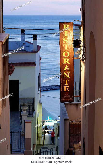 Restaurant in the Old Town of Peschici, Gargano, province of Foggial, Apulia, Italy