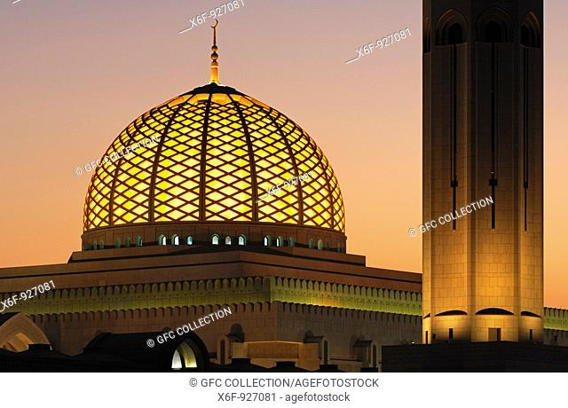 Illuminated dome of the Sultan Qaboos Grand Mosque, Muscat, Sultanate of Oman