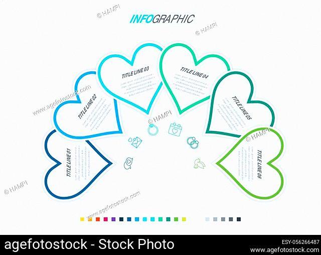 Timeline infographic design vector. 6 options, heart workflow layout. Vector infographic timeline template. Cold palette