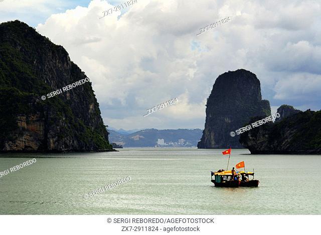 Boat and limestone karst in Ha long,Halong Bay, Vietnam,Ha long,Halong Bay, Vietnam