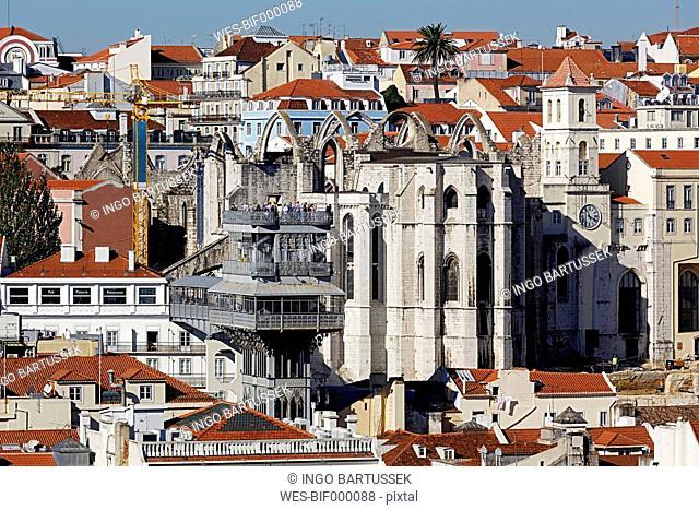Portugal, Lisboa, view over Baixa and Chiado