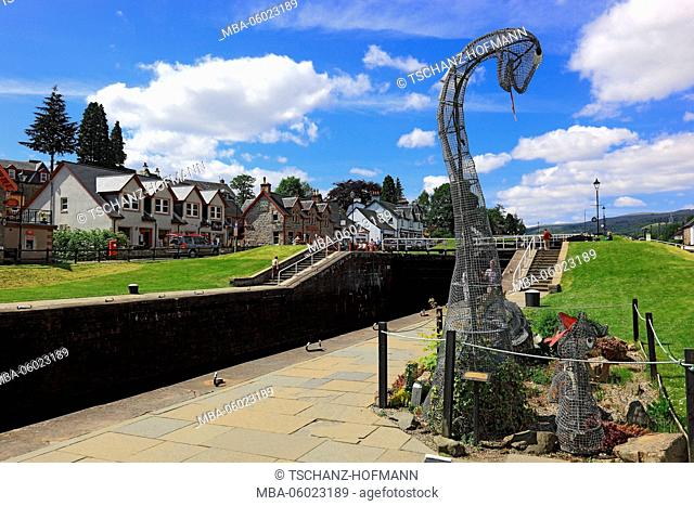 Scotland, Highlands, Fort Augustus at the southern end of Loch Ness, the locks on the Caledonian Canal, connecting Loch Oich and Loch Ness, Nessie sculpture