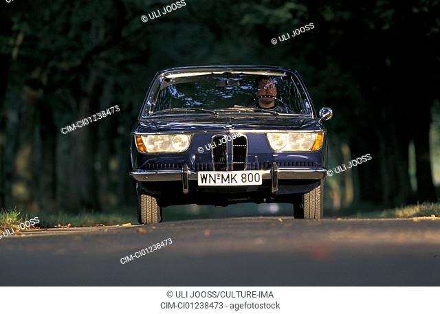 Car, BMW 2000 CS, model year 1966-1968, vintage car, 1960s, sixties, Coupé, Coupe, dark-blue, driving, front view, road, country road