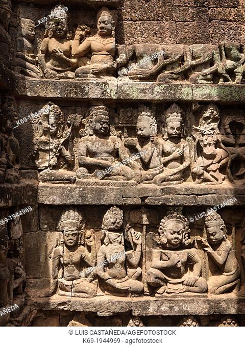 Detail. Sculptures of The Leper King Terrace. Angkor Thom. Siem Reap. Cambodia