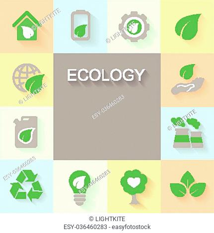 Ecology background with environment, green energy and pollution icons space for text