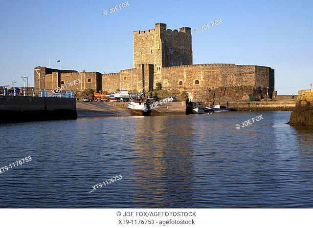carrickfergus castle viewed from the harbour county antrim northern ireland uk