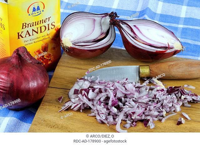 Red Onion and brown sugar candy, Allium cepa, rock candy, ingredients for cough syrup, bronchial balsam