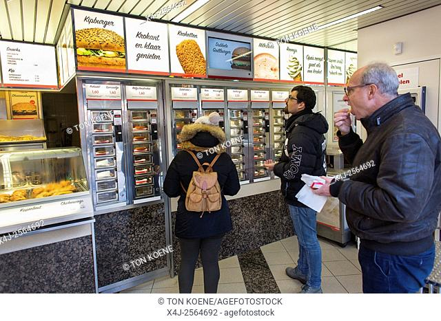 Fast Food restaurant FEBO in Holland. Clients can 'pull food from a wall'