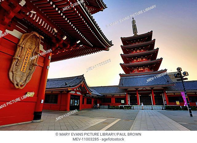 Japanese Pagoda silhouette at sunset at the Sensoji Asakusa Kannon Temple, Tokyo, Japan