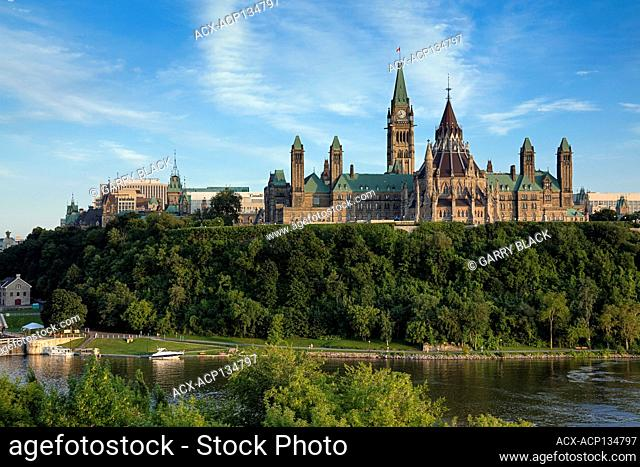 View of the Parliament Buildings and the Ottawa River from Nepean Point, Ottawa, Ontario, Canada