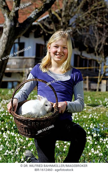 Girl with a rabbit in a basket