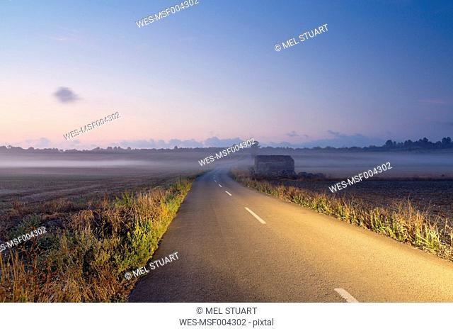 Spain, Balearic Islands, Mallorca,near Felanitx, road in the morning