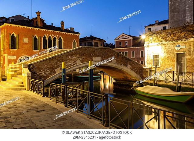 Dawn in the sestiere of Santa Croce, Venice, Italy