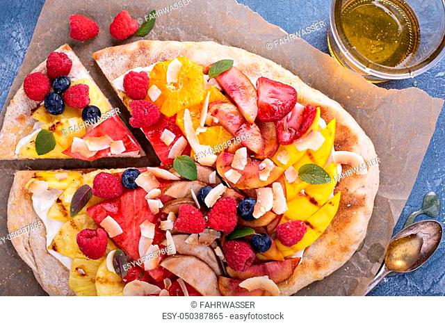 Grilled fruit pizza with cream cheese, honey and coconut best summer dessert