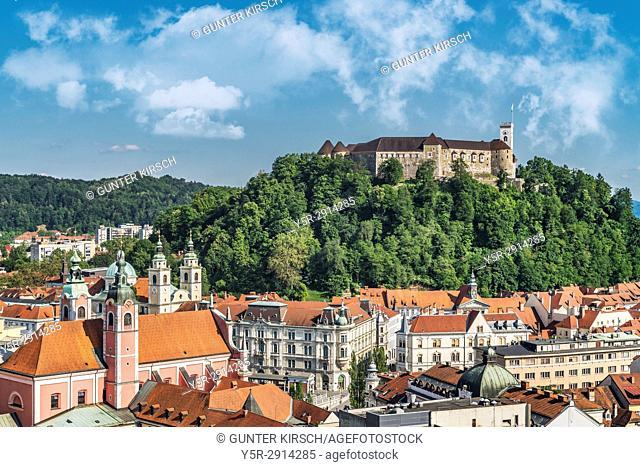 The Ljubljana Castle is a powerful medieval fortress and the symbol of the Slovenian capital, Ljubljana, Slovenia, Europe