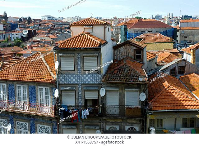 pantile rooftops and typical balconies in Porto, portugal
