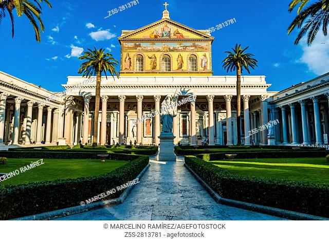 Basilica of Saint Paul Outside the Walls is one of Rome's four ancient major basilicas or papal basilicas. Rome, Lazio, Italy, Europe