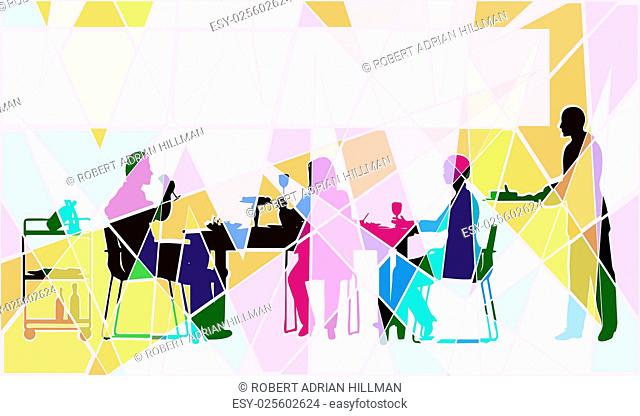Colorful editable vector mosaic design of people eating in a restaurant