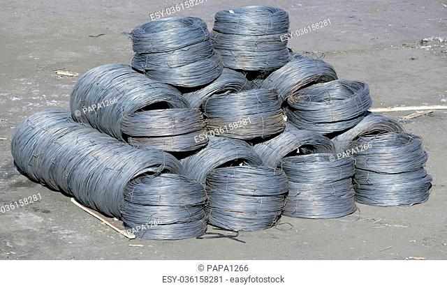 iron wires warehousing at the port for loading on a vessel