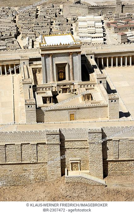 Detail view of the historical model of the city, Second Temple, open-air model at the Israel Museum, West Jerusalem, Jerusalem, Israel, Middle East