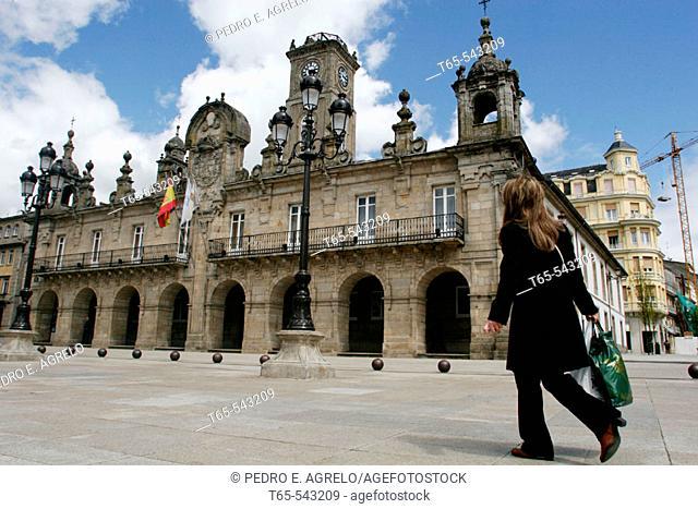 Main Square and town hall, Lugo. Galicia, Spain