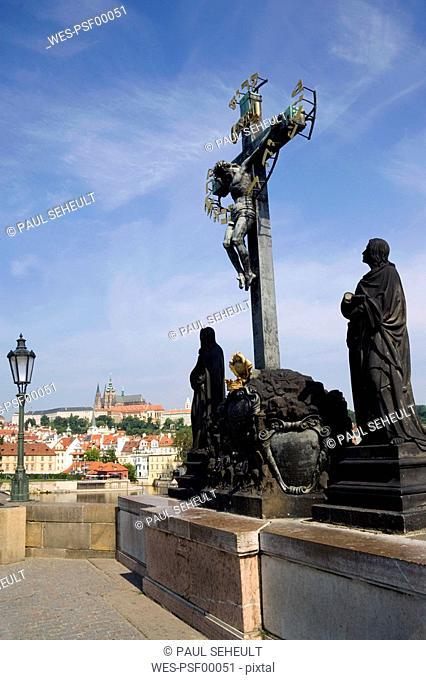 Czech Republic, Prague, Charles Bridge, Crucifix