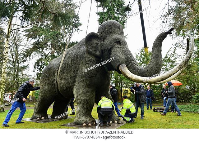 A crane carries the replica of a mammoth to the park at the Kunsthaus Meyenburg in Nordhausen,Germany, 30 March 2016. The large Nordbrand-Nordhausen mammoth...