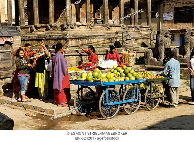 Temple and market in the old town of Patan, Lalitpur, Kathmandu, Nepal